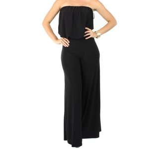 Pants - Sexy Party Cocktail Black Strapless Tube Jumpsuit